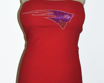 Red New England Patriots rhinestone bling banded strech bra sporty tube top  new