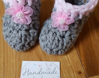 Baby Girl Booties - Baby Girl Shoes - Baby Girl Slippers - Baby Slippers - Baby Shoes - Baby Booties -Crochet Baby Shoes - Baby Shower Gift