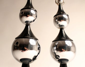 PAIR (2)  70s MODERN CHROME table lamp ( price is for pair ) vintage mid century 1970 era
