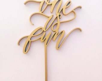 One is Fun Laser Cut Wood Cake Topper