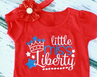 Baby girl little miss liberty July 4th red shirt Baby girl fourth of July red shirt baby girl 4th of July shirt matching red sequin headband