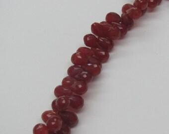 Carnelian Faceted Teardrop Gemstone Bead Strand