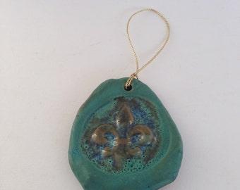 Turquoise Fleur De Lis Ceramic Ornament