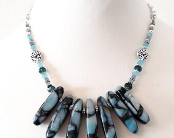 Statement Necklace, Blue Necklace, Gemstone Necklace, Blue Jasper Necklace, Blue Gemstone Necklace, Sea Jasper Necklace, Blue Agate Necklace