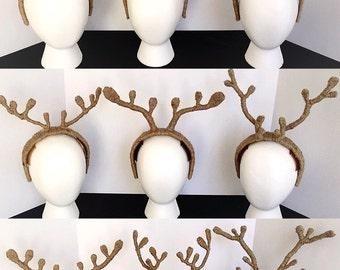 Custom Order Reindeer Antlers, Simple Reindeer Antler Headband, Custom Made Christmas Reindeer Headdress, Santa's Reindeer Headpiece.