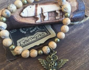 Owl Bracelet Rustic Stretch bracelet Woodland Gemstone Bracelet Women's Stacking Bracelet