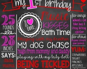 Valentine's Day First Birthday Chalkboard | 1st Birthday Chalkboard Sign | First Birthday Chalkboard Girl | Birthday Chalkboard Poster