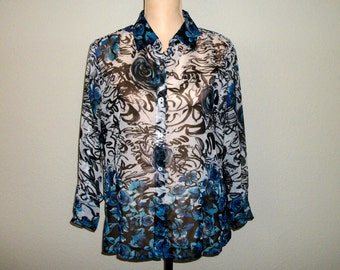 Print Blouse Abstract Floral Blouse Semi Sheer Floral Shirt Womens Shirts Button Up Blue Black & White 3/4 Sleeve Large Womens Clothing