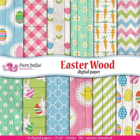 Easter Wood Digital Paper Easter Wood Backgrounds Easter Scrapbook