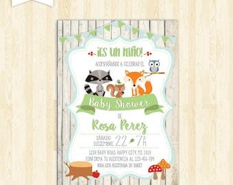 invitacion baby shower espanol boy baby shower in spanish invite woodland imprimible en español invitation baby shower niño zorro 191