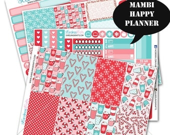 Peppermint Winter Stickers, Weekly Planner Kit 200+, for Happy Planner Sticker, Mambi Planner Sticker, December Planner Sticker #SQ00317-MHP