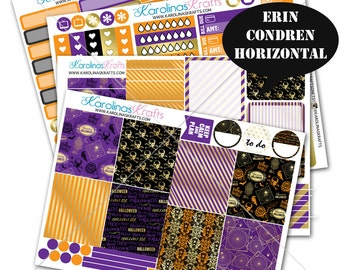 Gold Halloween Sticker, Fall Planner Kit 200+ Autumn Planner Sticker, Erin Condren Horizontal Planner Stickers, October planner #SQ00338-ECH