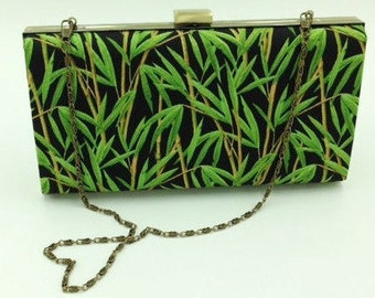 Clutch, Bridesmaid Clutch, Clamshell Clutch, Evening Clutch, Cocktail Clutch, Tropical Clutch in Bamboo Print - Made in Maui