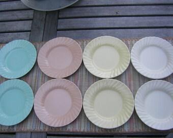 Franciscan Ware Coronado Bread & Butter Plates - 2 Aqua, 2 Yellow, 2 Pink and 2 Cream