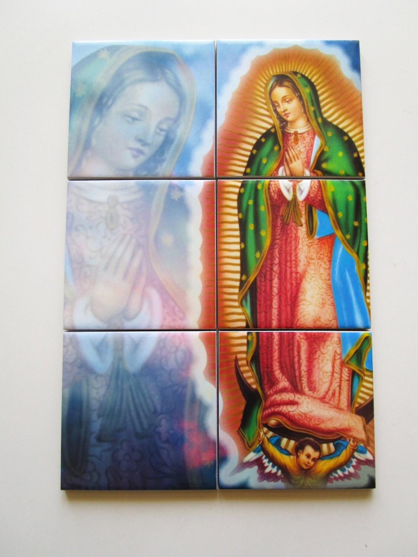 Christian wall art virgin of guadalupe catholic tile mural for Christian wall mural