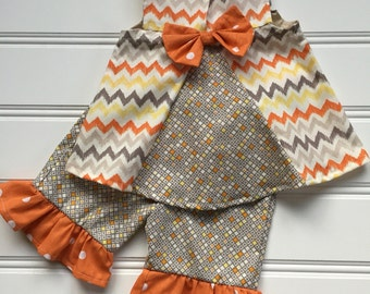 Baby Girl Fall Outfit, Little Girl Outfit, Thanksgiving Outfit for Baby Girl, Baby Girl Outfit, Girls Ruffle Pants, Trendy Baby Clothes