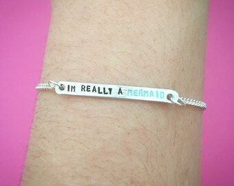 """Customizable """"I'm Really a Mermaid"""" Engraved Stamped Bracelet With Mermaid Charm, Made-to-Order"""