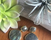 Labradorite Earrings. Gemstone.  Drop Earring. Statement Jewelry.  18K Gold Vermeil.  Sterling Silver
