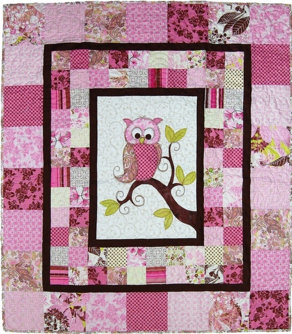 Baby Gift Quilt : Items similar to baby quilt owl shower gift