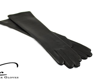 Beautiful long leather gloves, opera leather gloves, evening leather gloves - soft italian nappa lamb leather