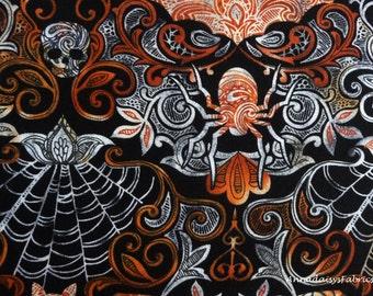 Damask Halloween Fabric,  Timeless Treasures Wicked C4577, Spiders, Bats, Skulls, Webs, Orange, Black, Gray, Cotton Halloween Quilt Fabric