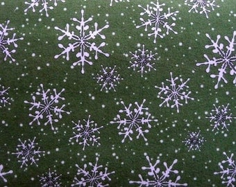 Green Snowflake Christmas Flannel Fabric, Maywood Studio 16007 Fresh Fallen Snow, Winter Flannel, Holiday Flannel, Cotton