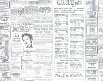 Retro Newspaper Fabric, Moda 1582 13 Zen Chic Modern Background Essentials Paper, Graphite, Grey Vintage Newsprint, Retro Fabric, Cotton