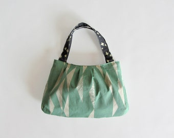 Small fabric purse, mint green handbag, handmade purse, Organic Cotton Canvas