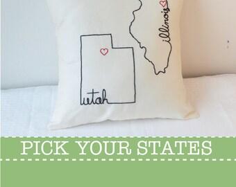 State Pillow Cover Decorative Throw Custom Embroidered, United States Ohio Washington California Tennessee New York Carolina Texas Gift