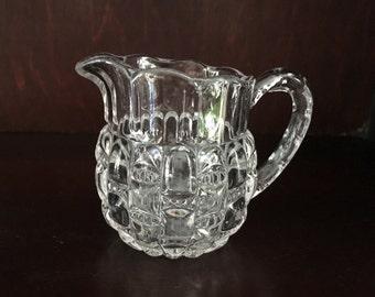 Pressed Glass Creamer, Clear Cut Glass Creamer, Scalloped Rim, Octagonal Rim, 8 Sided Pourer, Vintage Glass Creamer,Embossed Patterned Glass