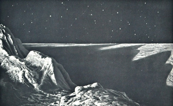 Moon horizon. Astonomy print. Old book plate, 1937. Antique  illustration. 78 years lithograph. 9'4 x 12'1 inches.
