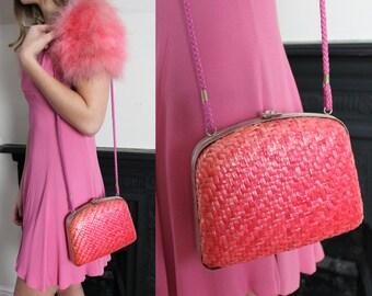 20% OFF 1950's Pink Wicker Box Hand bag