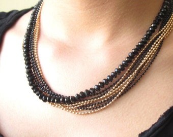 Multilayer Necklace - Layered Necklace - Strand Necklace - Beaded Necklace - Black And Gold Necklace - Statement Necklace