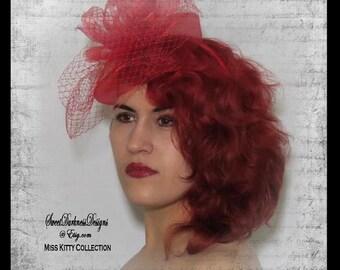 Red Fascinator Red Birdcage Veil Steampunk Fascinator Victorian Mini Hat Steampunk Hat Womens Steampunk Fascinators by SweetDarknessDesigns