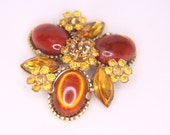 Amber Golden and Chocolate Gem Brooch