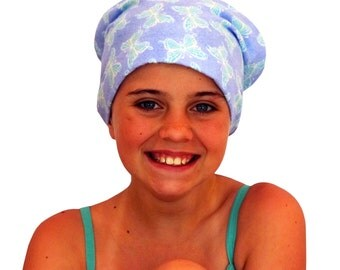 Jaye Children's Flannel Head Cover, Girl's Cancer Headwear, Chemo Scarf, Alopecia Hat, Head Wrap, Cancer Gift for Hair Loss - Blue Butterfly