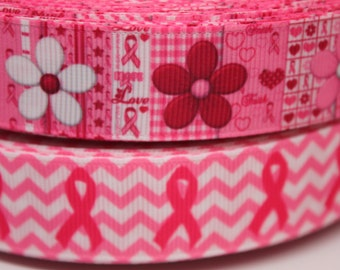 Breast Cancer Ribbon 7/8 Inch Grosgrain Ribbon by the Yard for Hairbows, Scrapbooking, and More!!