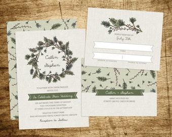 Printable Woodland Wreath Wedding Invitation, pine bows, ferns, forest, linen, berries, camping, wood grain, hand drawn, diy, customizable