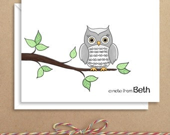 Gray Owl Note Cards - Folded Note Cards - Personalized Stationery - Thank You Notes - Illustrated Note Cards
