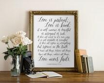 1 Corinthians 13, Love is Patient Love is Kind, Bible Verse Art, Wedding
