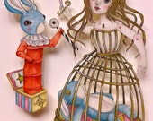 "OOAK Original Hand Painted Paper Doll - ""A KEEPER"", surreal art,hand drawn,articulated doll,Pandora's box, evil rabbit, skull, key, cage."