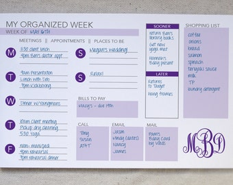 Weekly Organizer Notepad // To-Do List // Monogrammed Weekly Planner // Desk Pad // Monogrammed To-Do // Agenda Notepad // Weekly Calendar