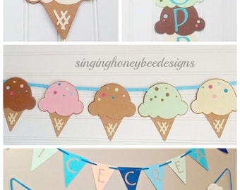 ice cream social, ice cream dessert bar, ice cream banner, ice cream birthday party, sweet shoppe birthday, ice cream parlor party