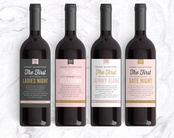 New Parent Gift Wine Labels (Set of 4) Mommy Milestones™ Baby Shower Gift Wine New Mom Gift New Mommy Baby Shower Mother's Day Gift