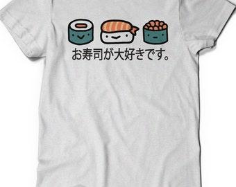 Sushi Shirt Tee I Love Sushi Japanese Tshirt T-Shirt T Shirt Ladies Mens Gift Idea Japan Cute Sushi Roll Food Foodie Travel Girlfriend Wife