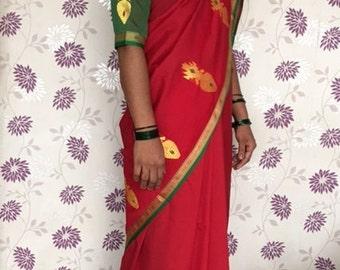 Red Green Yellow synthetic Sari, woven border, shiny sari, bright festive colors, 5 yards Indian Sari with free blouse
