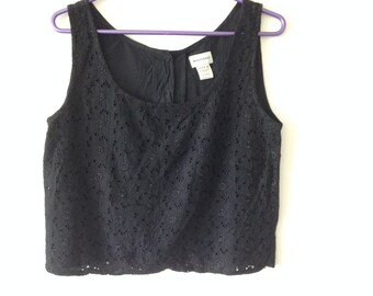 Vintage Crop Top, Eyelet embroidery fabric, Crop Vest, Black Sleeveless Vest, UK 10,Warehouse Brand,Cotton Embroidered Top, Back Button,