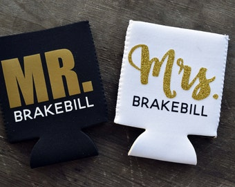 Personalized Mr. and Mrs. Can Coolers//Wedding Can Coolers//Honeymoon Beer Cooler//Honeymoon Can Coolers//Can Sleeves