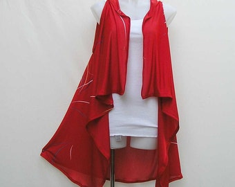 Long Red vest, plus size red vest, red waterfall vest, red cascade vest, red asymmetric vest, lagenlook 1x 2x 3x 4x vest, sleeveless vest
