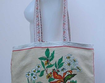 Flowers Tote bag, upcycled linen bag, cotton bag, New Zealand flowers, shopping bag, tea towel tote bag, refashioned tote bag, shopper tote